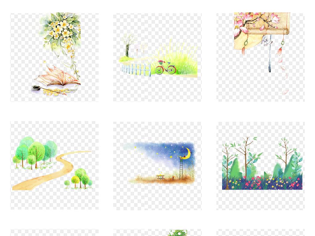 卡通手绘水彩树木草地建筑png免抠素材
