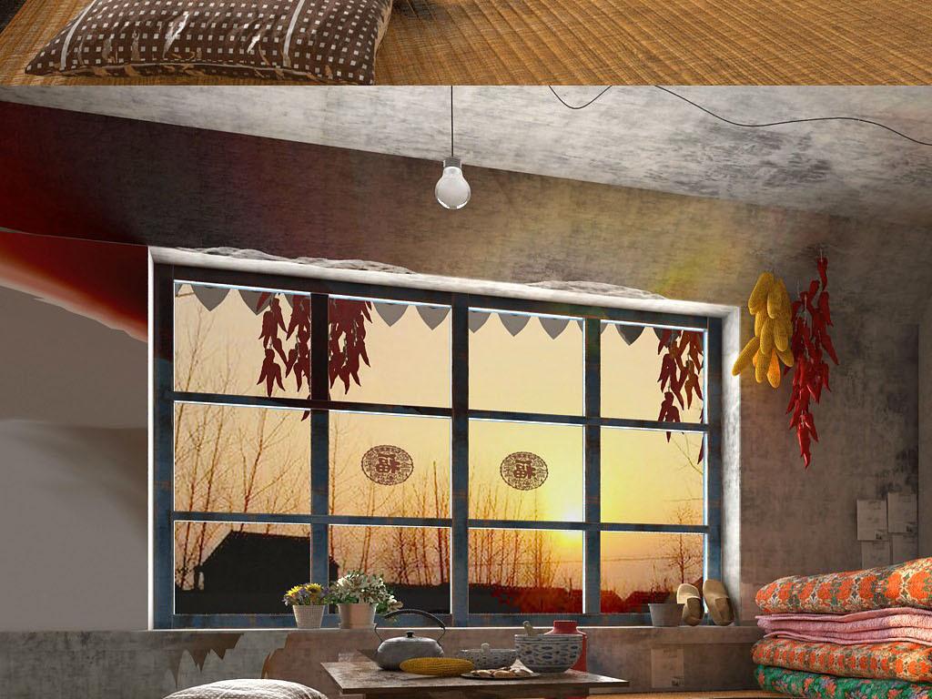 东北农村室内火炕玉米干辣椒簸箕设计图下载 图片548.14MB 场景库