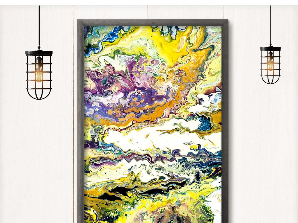 现代手绘抽象色彩玄关装饰画图片设计素材_高清模板(.