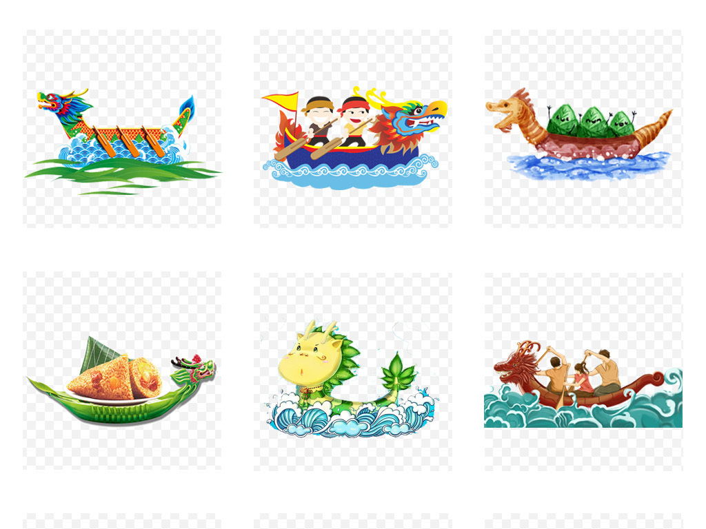 卡通手绘端午节赛龙舟海报背景png免扣素材