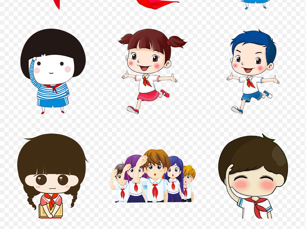 红领巾少先队卡通儿童小学生海报素材背景PNG图片 模板下载 29.57
