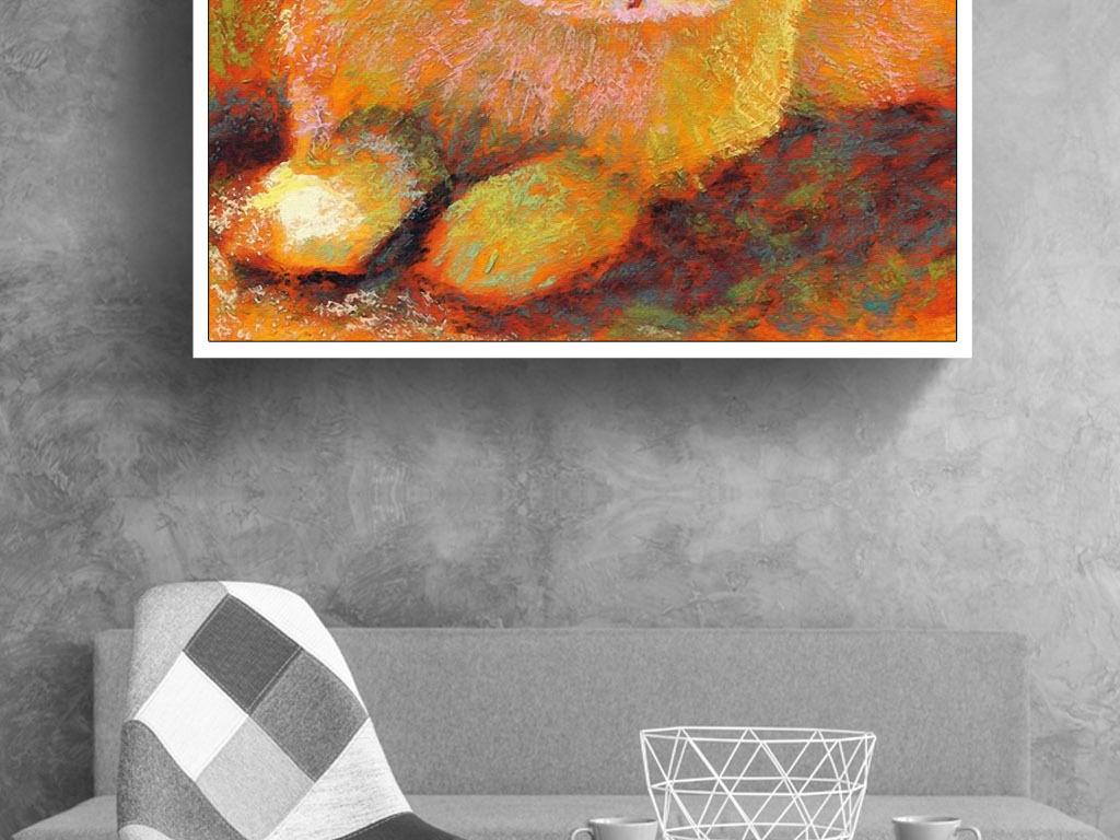 现代印象派西欧莫奈风格手绘兔子招财装饰画