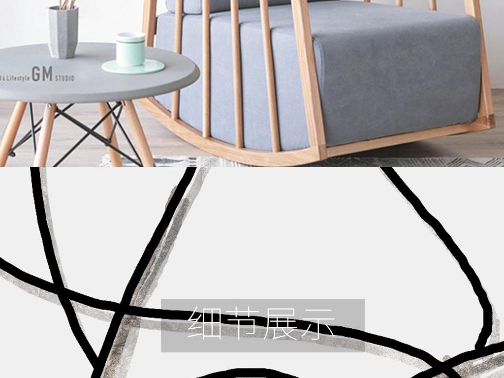 北欧ins简约黑白手绘抽象线条无框画