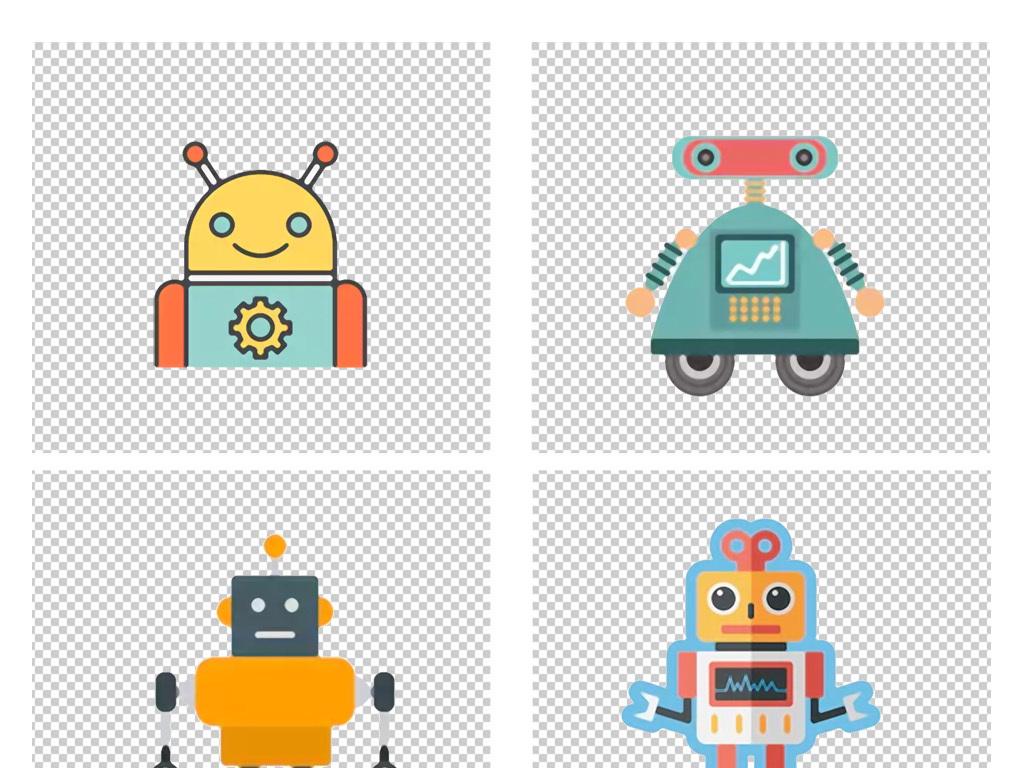 手绘卡通彩色机器人png免扣素材