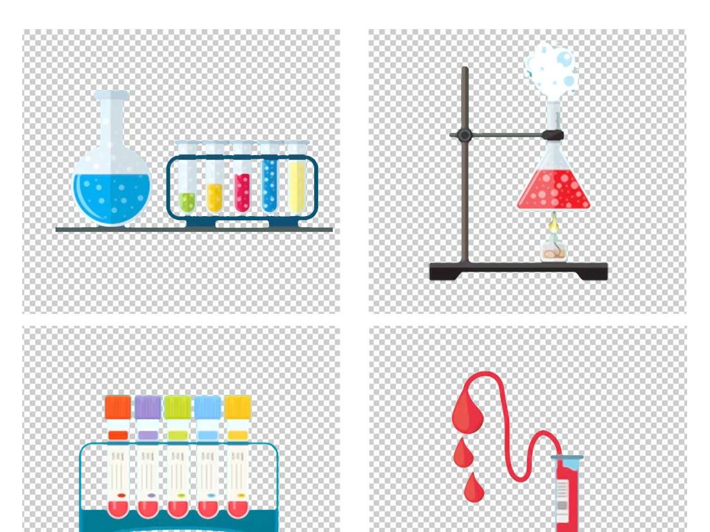 手绘卡通化学实验器材试管架试管夹png