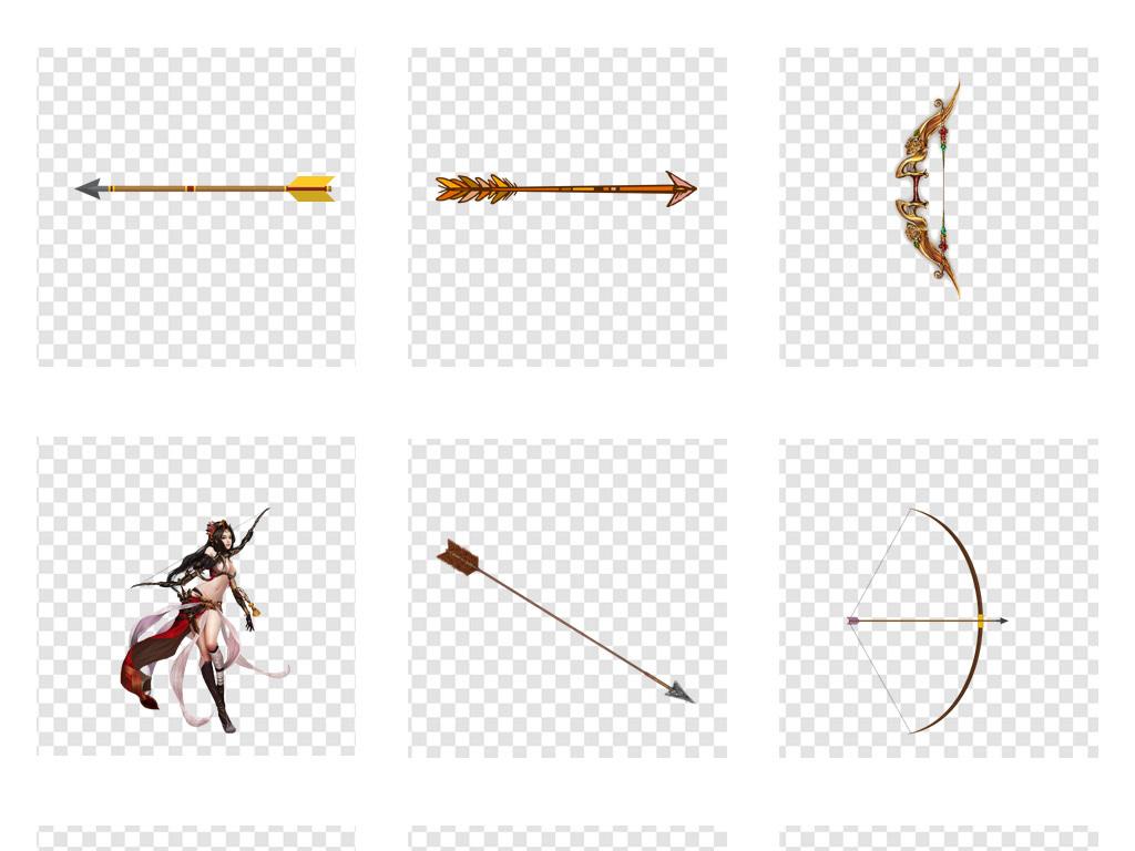 卡通手绘弓箭武器png免扣素材