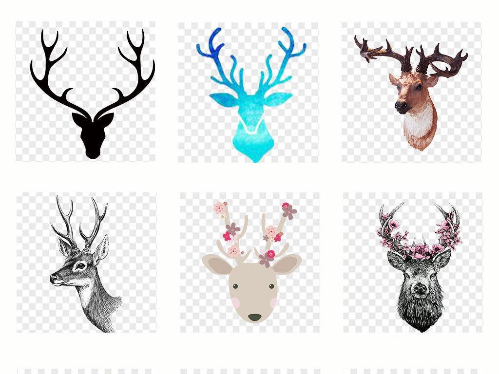 手绘鹿麋鹿头鹿森林鹿梅花鹿png透明素材