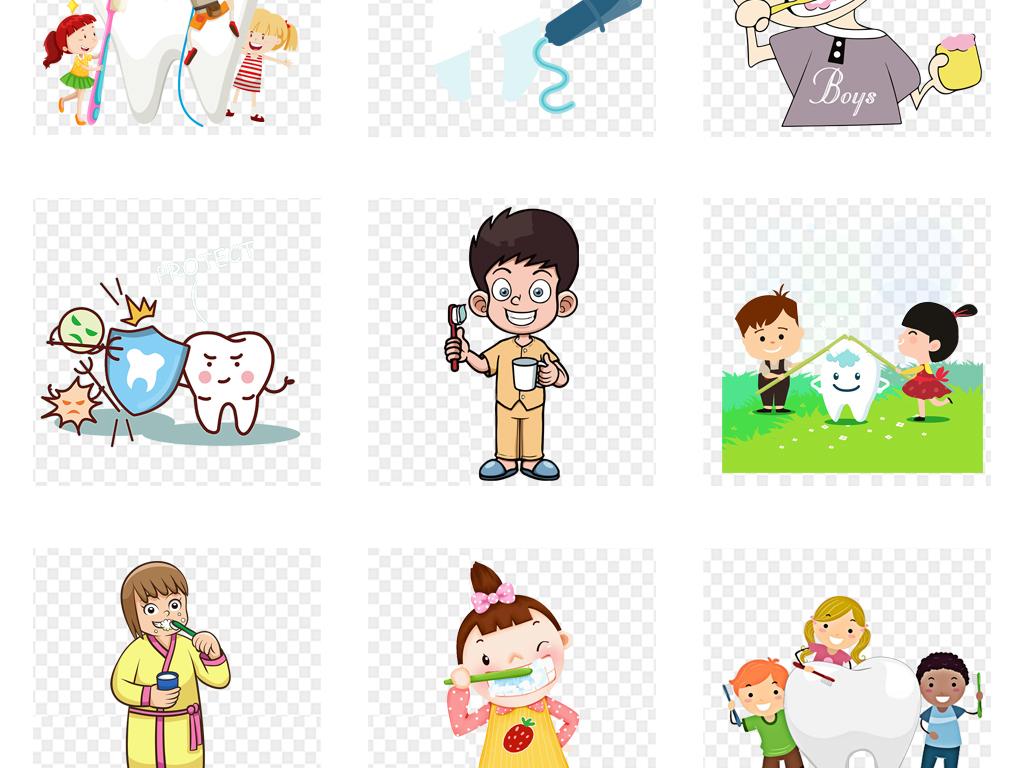卡通儿童刷牙爱护牙齿海报背景png免扣素材