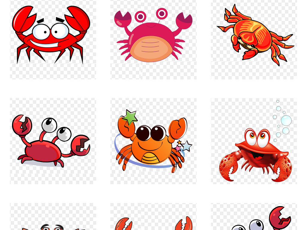卡通可爱螃蟹大闸蟹海鲜png免扣素材