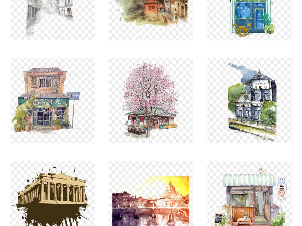 卡通手绘水彩古典水墨建筑城市png素材