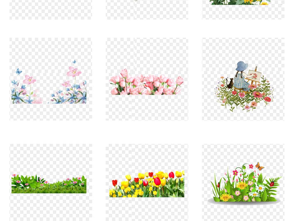 卡通手绘水彩花丛草丛草坪草地园林png素材