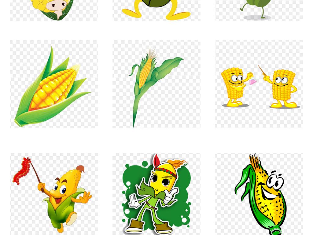 卡通手绘水彩玉米食物海报png免扣素材