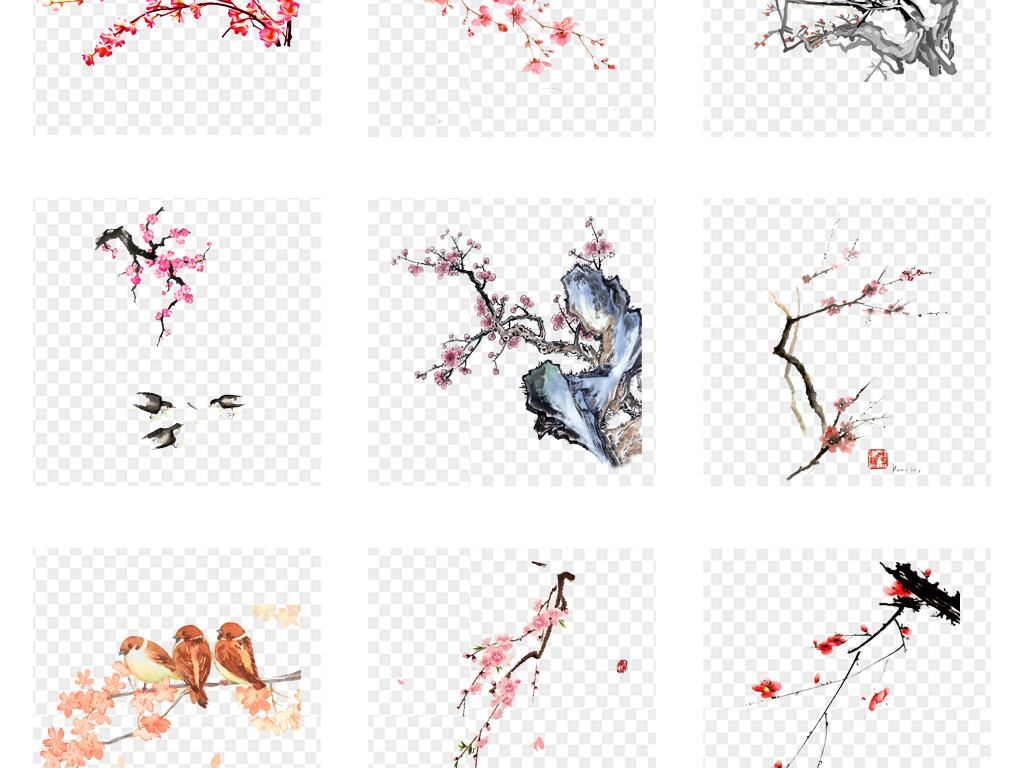 卡通手繪水彩中國風梅花紅梅桃花png免扣素材