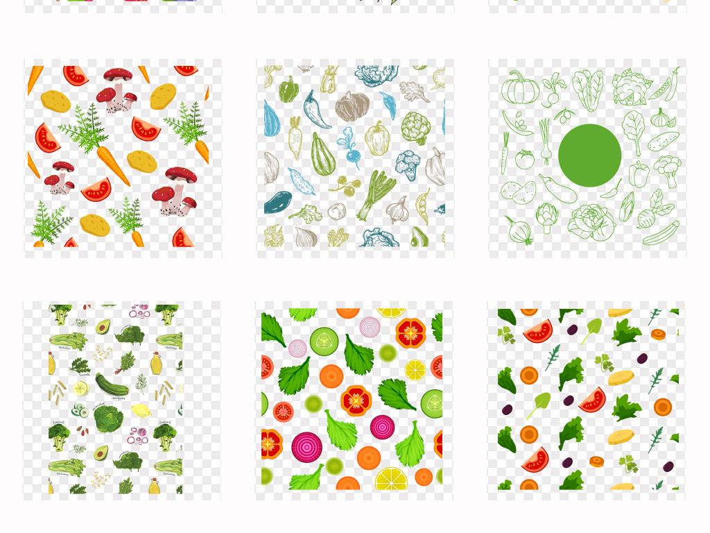 可爱卡通手绘新鲜蔬菜水果背景png免扣素材