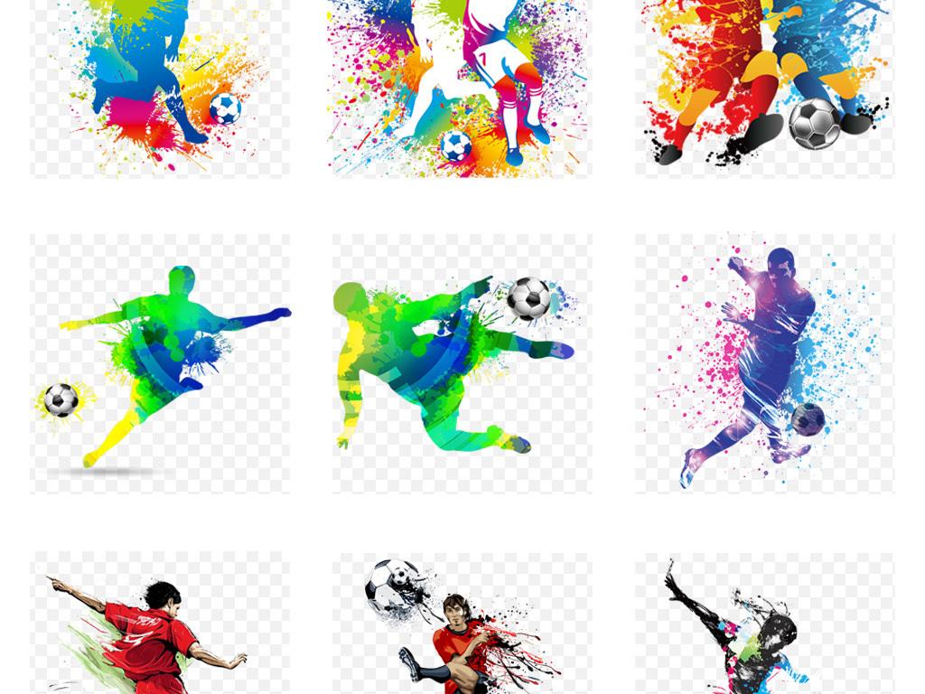卡通水彩泼墨踢足球人物足球比赛海报背景png素材