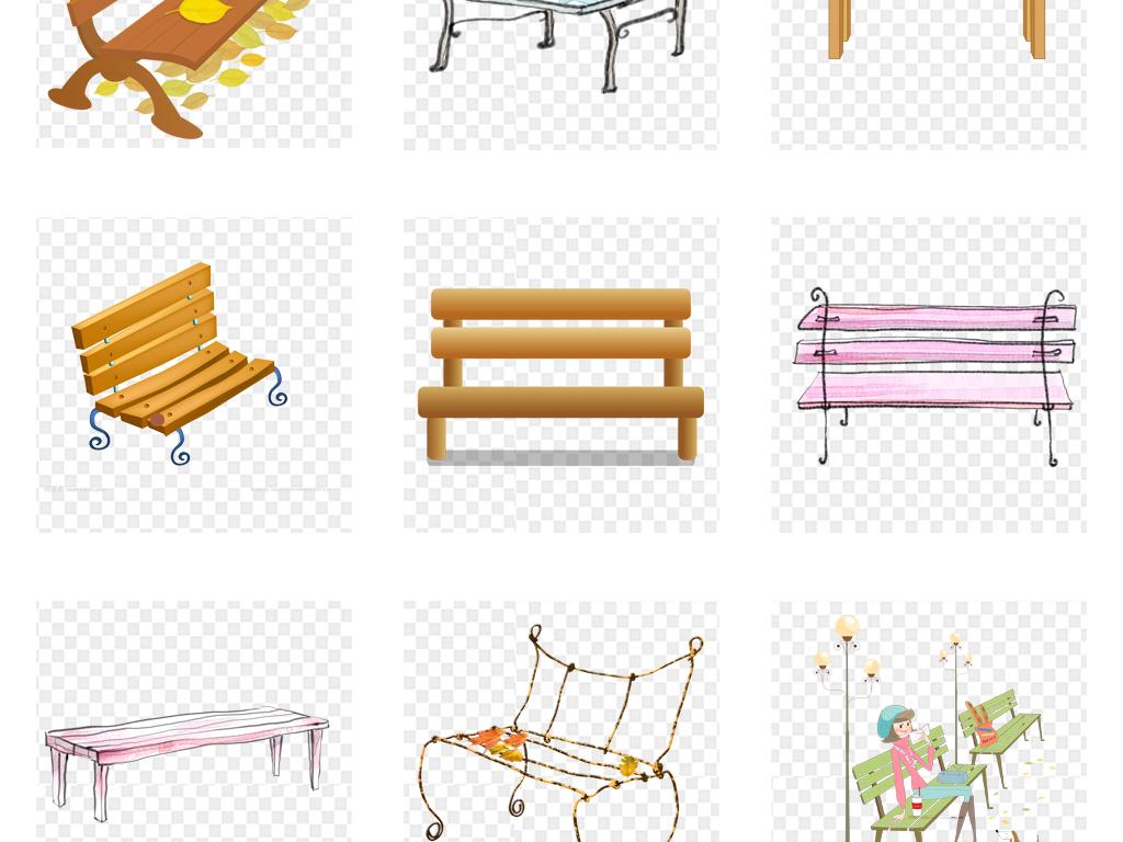 卡通手绘公园园林座椅长椅海报背景png素材