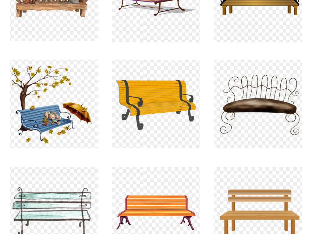 免扣元素 生活工作 其他 > 卡通手绘水彩户外公园休息长椅休闲椅png