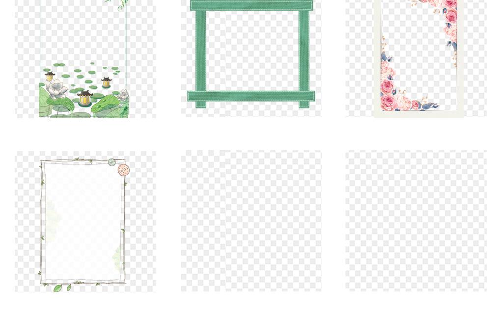 卡通手绘小清新花卉植物海报背景边框png素材