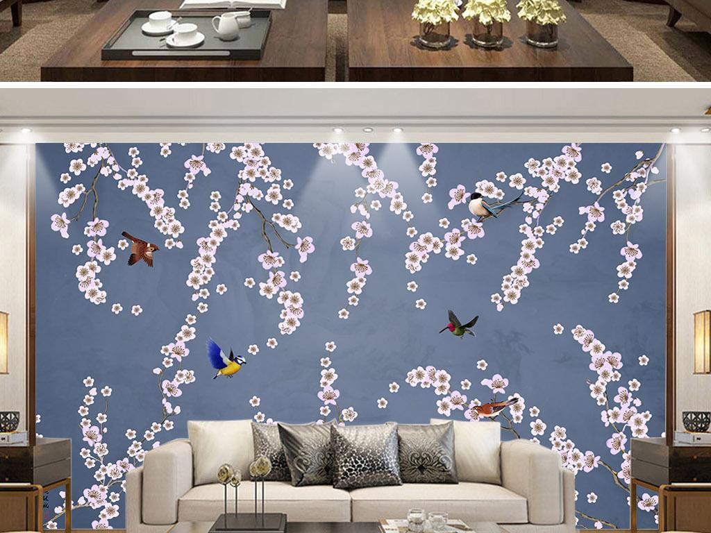 中国风花鸟背景墙工笔画手绘花鸟图