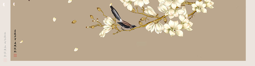 工笔画玉兰花背景墙手绘花鸟工笔花鸟装饰画