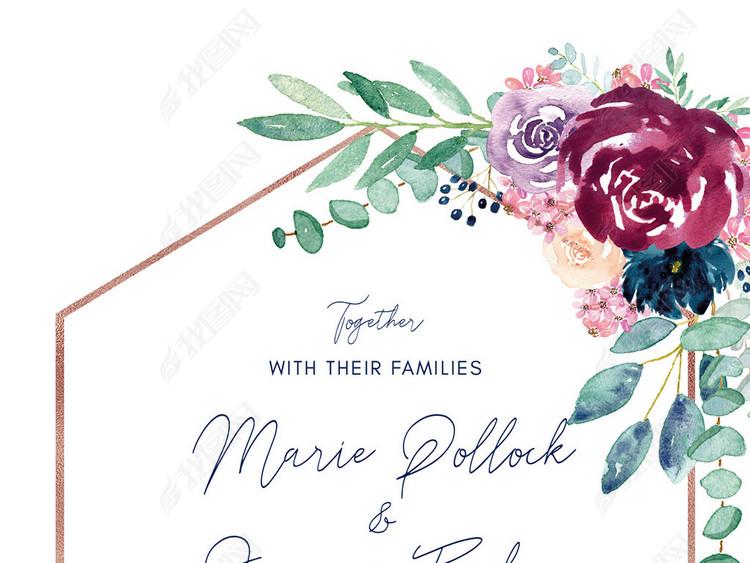 清新文艺水彩手绘花卉婚礼海报请柬邀请函模板
