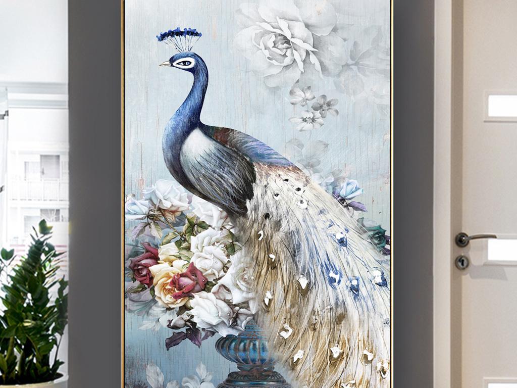 现代清新手绘吉祥孔雀花卉油画玄关装饰画