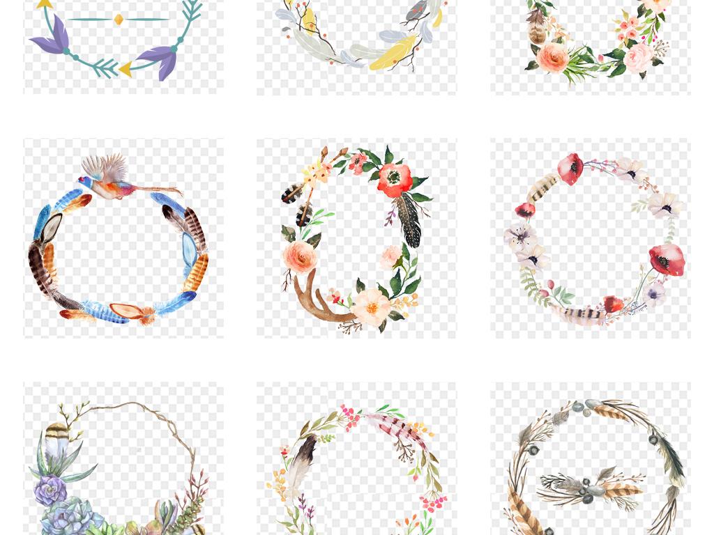 手绘水彩花卉花环花圈海报背景png素材