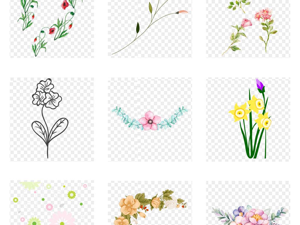 唯美手绘水彩小清新小花小草海报底纹背景素材