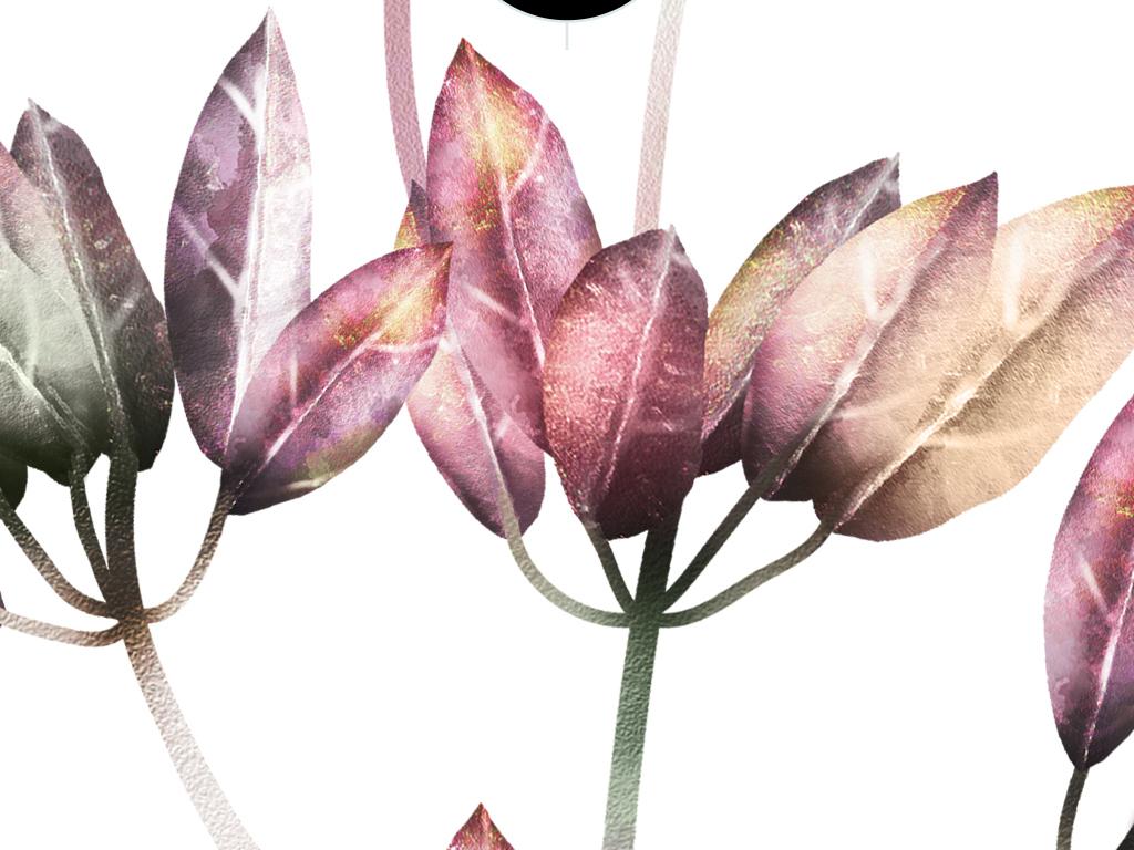 北欧风ins手绘小清新植物装饰画无框画