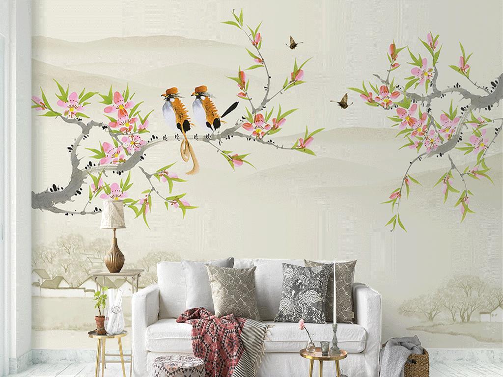 新中式手绘山水花鸟沙发电视背景墙