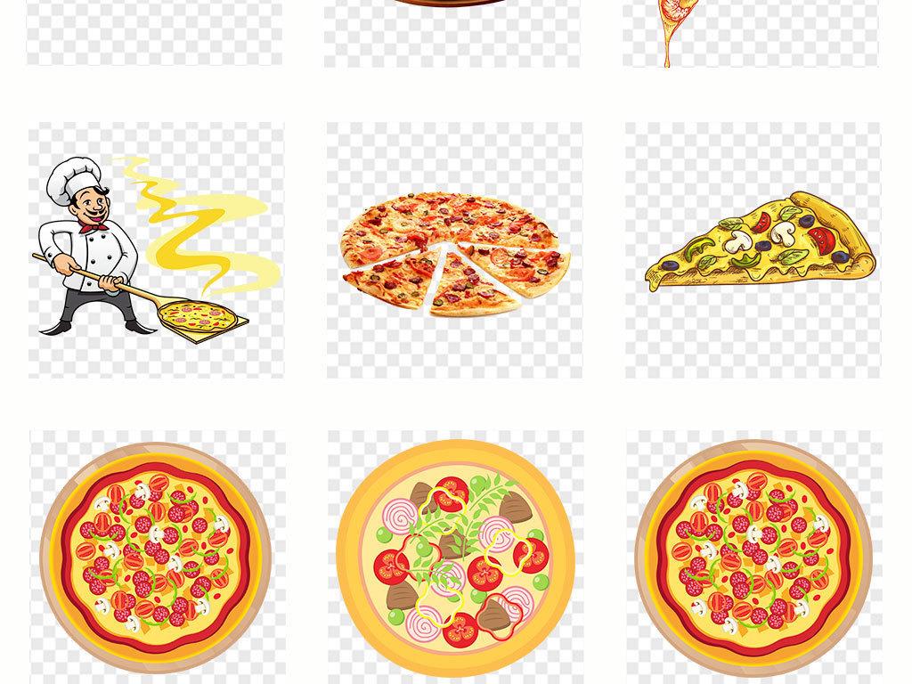 手绘美食美味披萨海报设计png素材