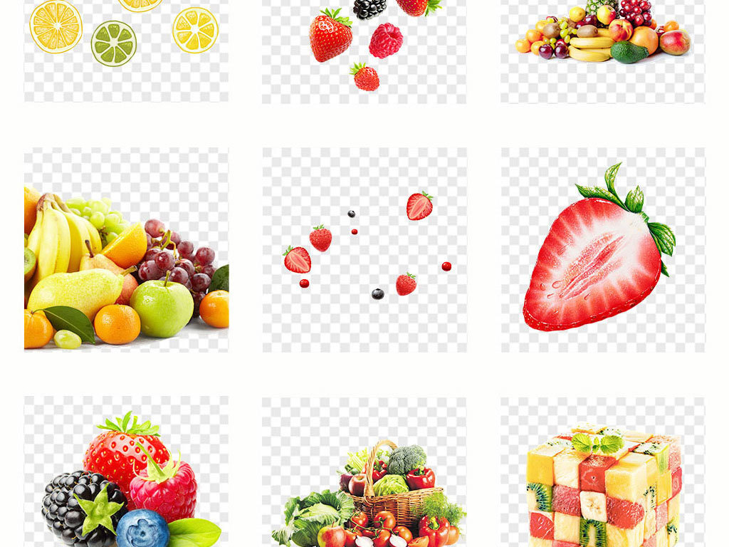 手绘卡通新鲜蔬菜水果海报素材背景png
