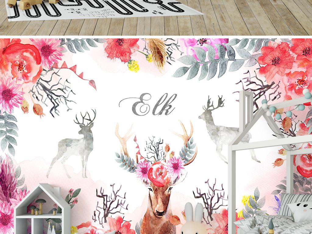 手绘森系麋鹿背景墙