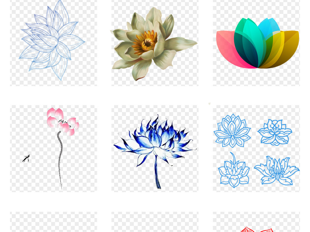 中国风莲花水墨荷花手绘植物花朵海报背景素材