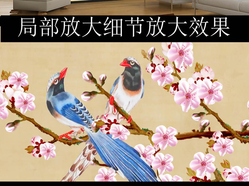 手绘新中式梅花喜鹊工笔画背景墙装饰画