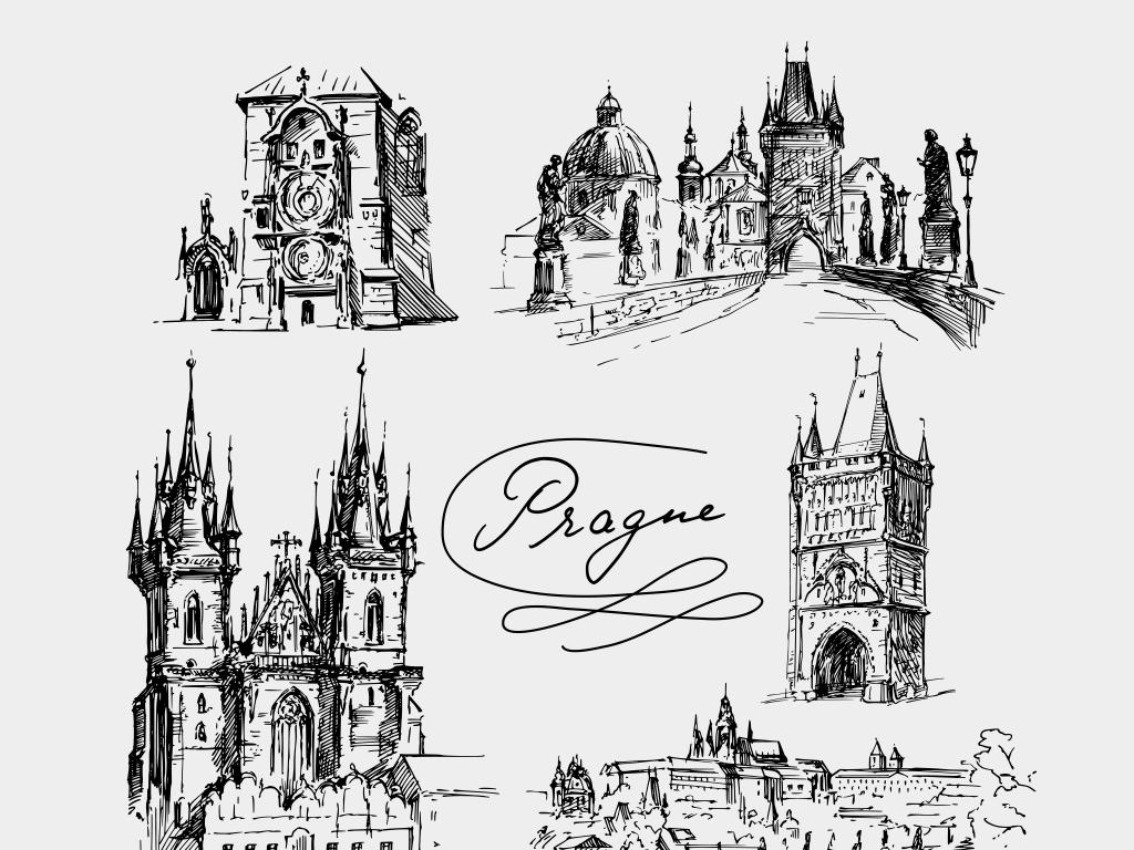 2018黑白复古手绘欧式建筑矢量插画
