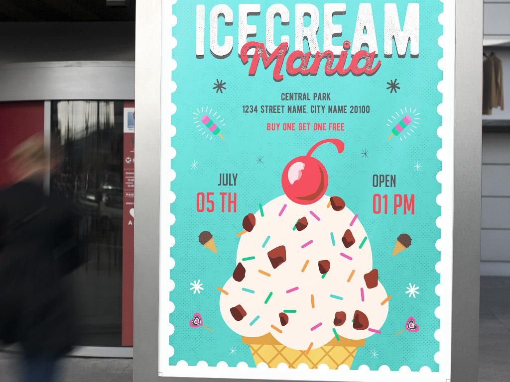 海报设计 创意海报 pop海报 > 多彩创意手绘冷饮店冰激凌海报psd模板