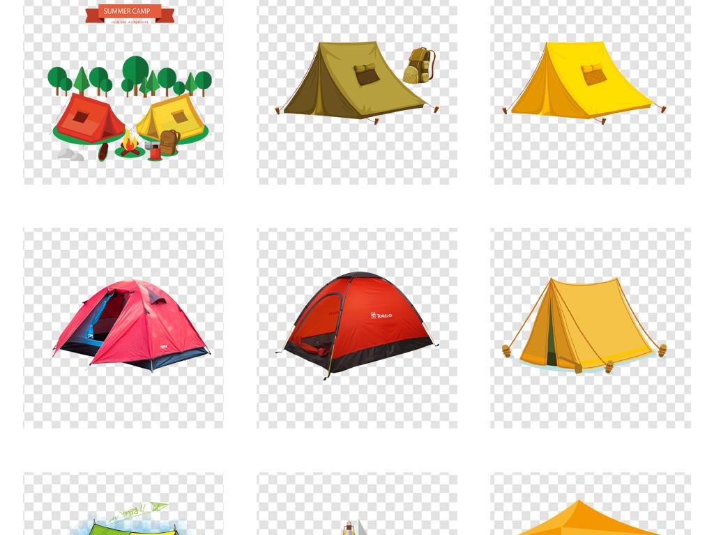 卡通帐篷户外露营png免扣素材