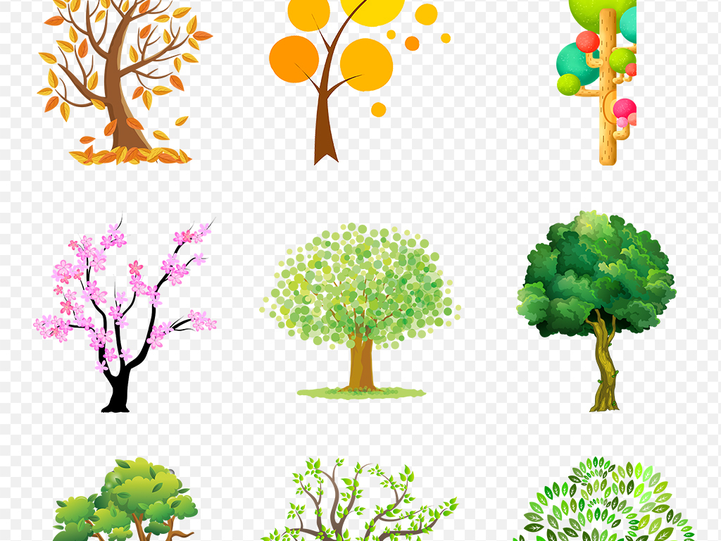 手绘卡通树素材大树树木植物海报素材背景png