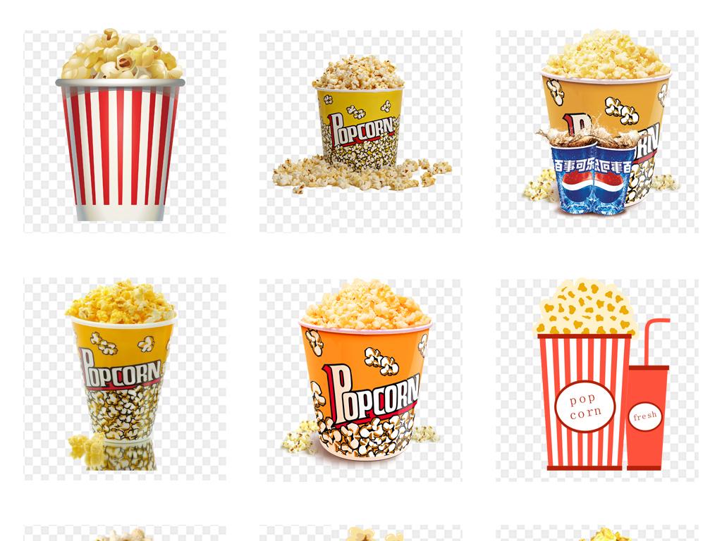 卡通手绘电影院爆米花零食海边设计png免抠素材