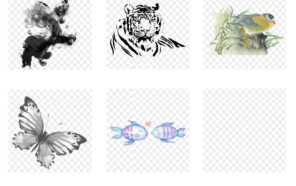 卡通手绘水彩动物海报设计png素材