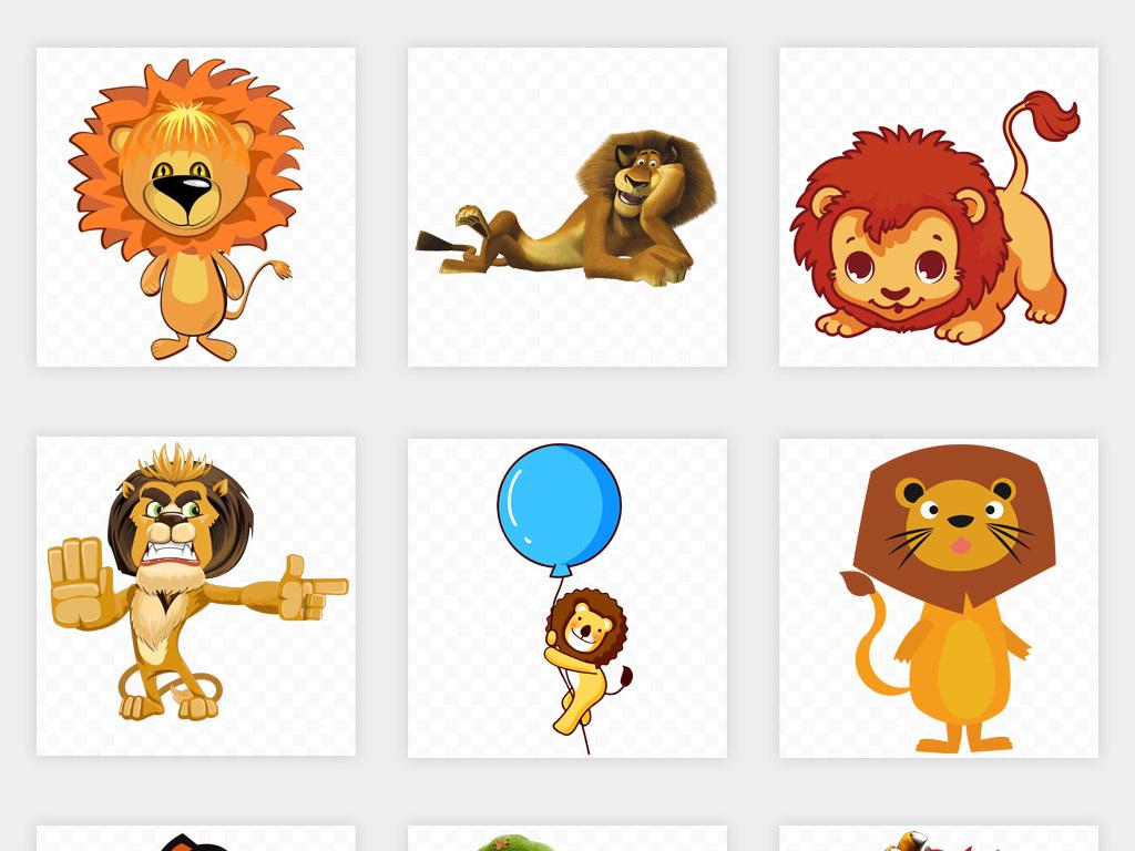 手绘可爱动物狮子卡通幼儿园贴纸海报背景png免扣素材