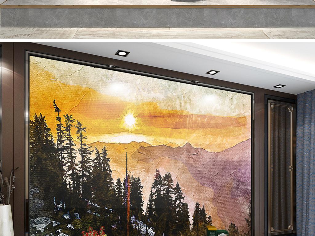 背景墙 电视背景墙 电视背景墙 > 手绘群山日出克罗地亚  素材图片