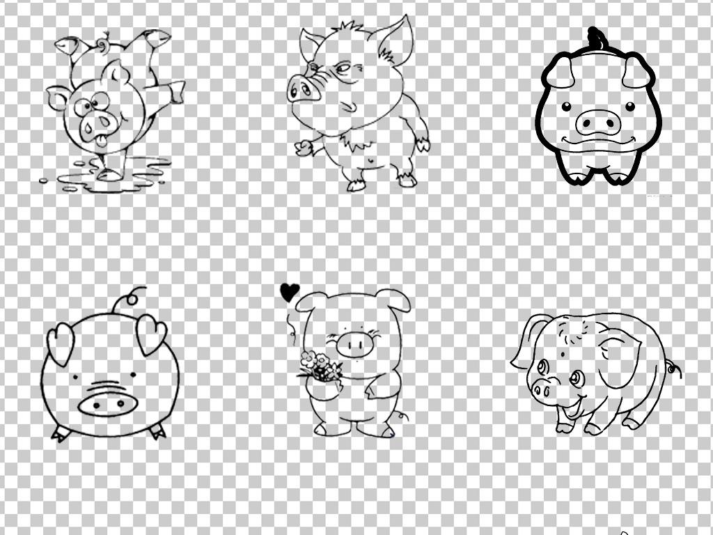 0658小猪可爱卡通猪猪黑色线条手绘小猪素材免抠