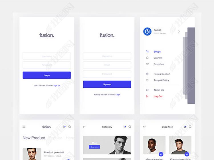 简约蓝色购物APP闲置交易UI界面设计
