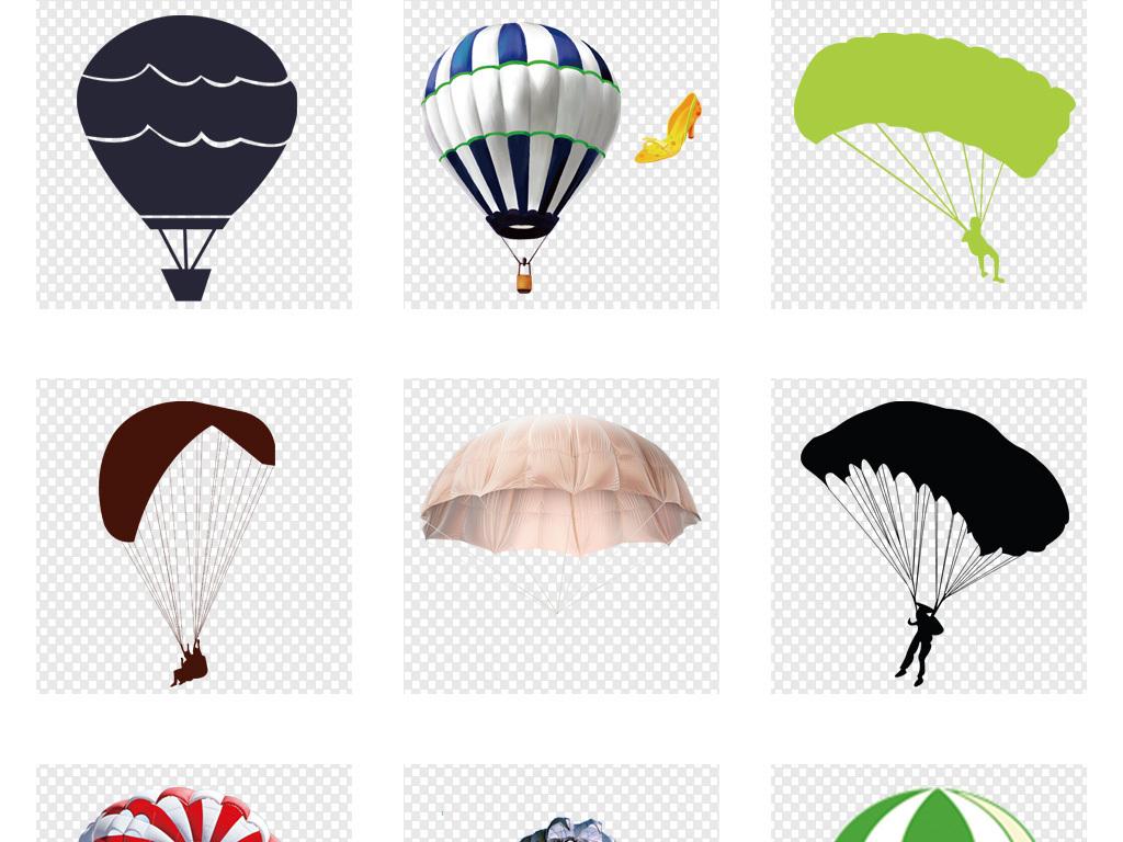 卡通创意手绘彩色降落伞png海报素材