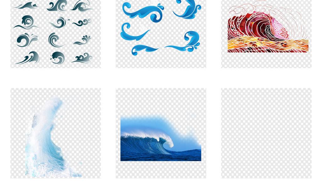 卡通手绘海洋海浪浪花海水png背景素材