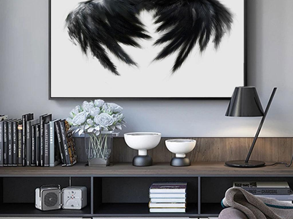 现代手绘羽毛黑白美女北欧风格玄关装饰画