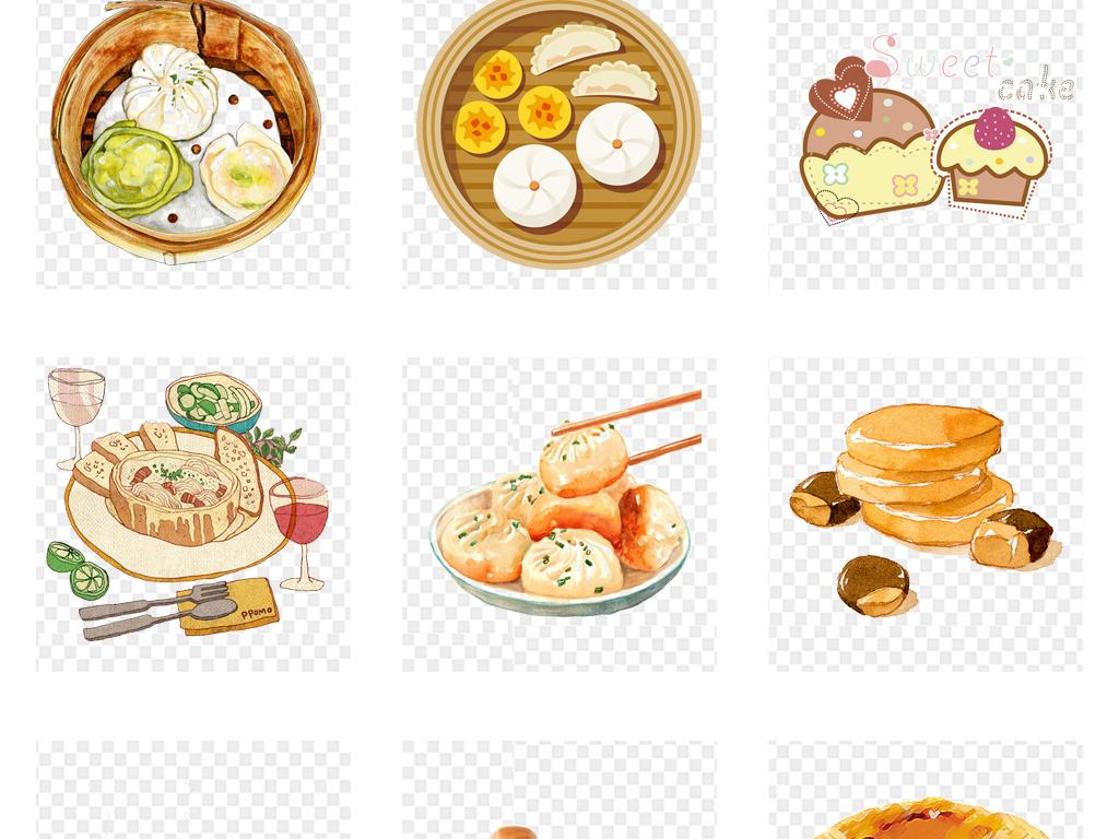 卡通手绘早餐包子馒头食物面包点心甜食素材