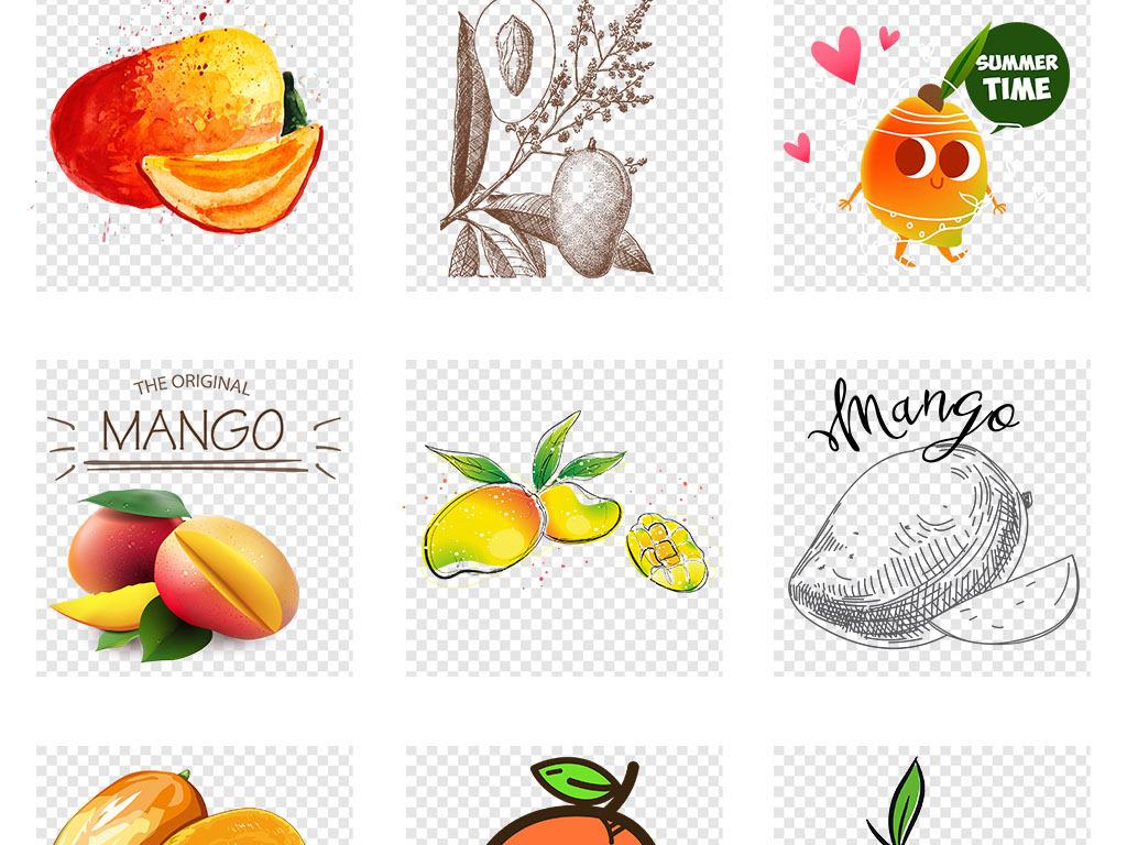 卡通手绘水彩新鲜水果芒果png免抠素材